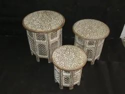 Round White Antique Table Set, For Home