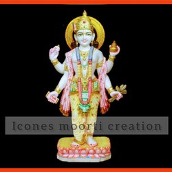 Painted Marble Dhanvantari Statue