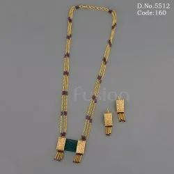 Traditional 3 Line Chain Pendant Set