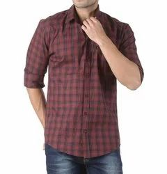 Poly Cotton Mens Checked Casual Shirt, Size: S- Xl