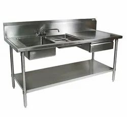 Double Silver SS Drawer Table Kitchen Sinks, For Restaurant