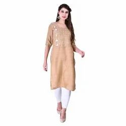 Cream Cotton Embroidered Straight Kurta, Age Group: Adult, Size: L Xl 2xl 3xl