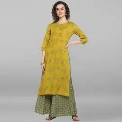 Janasya Women''s Lemon yellow Rayon Slub Kurta With Palazzo(J0034)