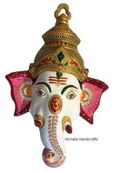 Metal Meenakari Ganesha Mask Statue Hindu God Idol Sculpture