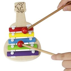 Wooden Xylophone Guitar Shaped Musical Toy For Children