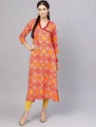 La Firangi Women Red & Mustard Yellow Printed A-Line Kurta