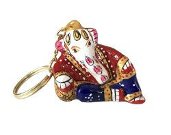Metal Meenakari Ganesha Statue Key Chain God Idol Key Ring Sculpture