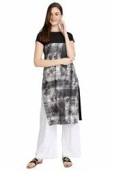 Women Printed crepe straight Kurta(Grey)
