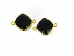 Black Onyx gemstone Double Bail Connector Link