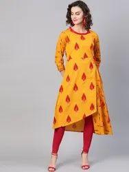 La Firangi Women Mustard Yellow & Maroon Printed Asymmetric Hemline A-Line Kurta