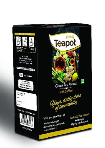 Atlantis Teapot Instant Green Tea Immunity Booster Premix With Saffron Single Serve Sachet