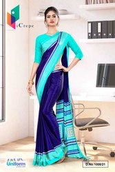 Navy Blue Sea Green Premium Italian Silk Crepe Saree For Front Office Uniform Sarees 1008