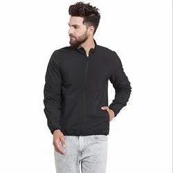 Polyester Full Sleeves Men Black Sports Jacket