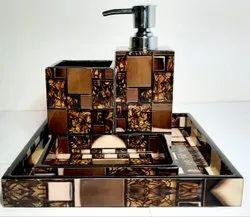 Polished Copositive Brown Color Soap Dispenser Bathroom Set