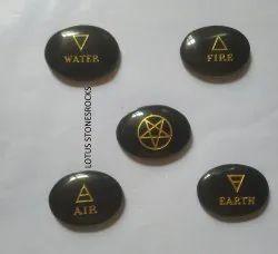 Black Agate 5 Element Ovals Stones Set