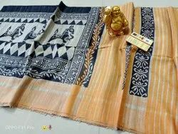 Halim Gachi Tussar Hand Printed Madhubani Saree, With Blouse, 6.3 Meters