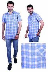 Speak Cotton Mens Half Sleeve Check Shirts, Machine wash, Size: 38 To 46 Or M To 3xl