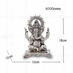 Silver Plated Ganesh Medium Choki