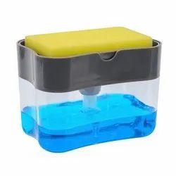 Sponge 2 In 1 Manual Press Liquid Soap Dispenser