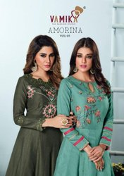 Vamika Amorina Vol 5 Muslin Silk Long Gown Catalog
