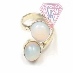 Opalite Gemstone Ring Round And Oval Shape with Silver Plated