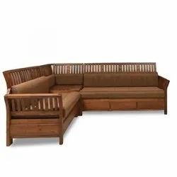 Stylo Furniture Modern Wooden L Shape Sofa, For Home