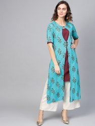 La Firangi Women Blue & Maroon Printed Layered Asymmetric Straight Kurta
