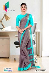 Brown Sea Green Paisley Print Premium Italian Silk Crepe Saree For Staff Uniform Sarees