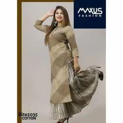 Cotton Stitched MAXUS Ladies Designer Palazzo Suit, Machine wash
