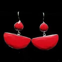 Oxidized Stone Earrings
