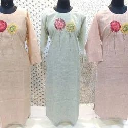 Casual Wear 3/4th Sleeve Embroidered Fancy Cotton Kurti, Size: S - XXL