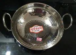 Round Suryavansham Mirror Polish Stainless Steel Kadai, For Home