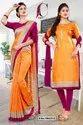 Orange Wine Plain Border Premium Polycotton Cotfeel Saree For Industrial Uniform Sarees