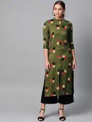 La Firangi Women Green & Golden Printed Straight Kurta