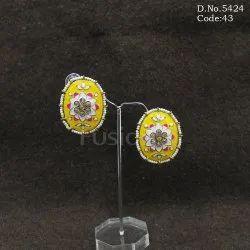Meenakari Mehendi Polish Pearl Beaded Handmade Brass Earrings