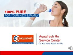 Aquafresh Water Purifier Servicing