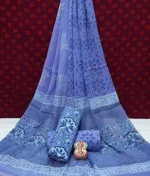 Natural Hand Block Printed Cotton Dress Material With Chiffon Dupatta.