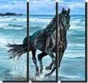 Smooth Wooden Running Horse Wall Painting, For Decoration, Size: 15 * 15 Inch