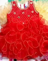 Embroidered Stitch Net Party Wear Kids Fancy Frock