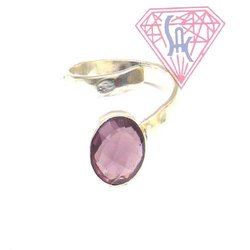 Amethyst Quartz Gemstone Silver Ring with Silver Plated