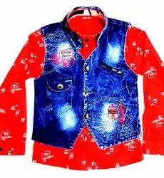 Cotton Printed Kids Party Wear Jacket Shirts