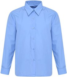 Plain Collar Neck Sky Blue Cotton Shirt, Size: 24-44