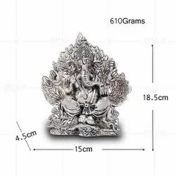 Silver Plated Ganesh In Leaf