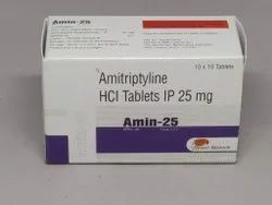 Amin-25 Amitriptyline HCL Tablets 25 mg, Packaging Size: 10*10