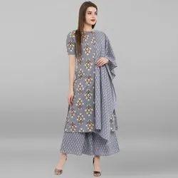 Janasya Women's Grey Pure Cotton Kurta With Palazzo And Dupatta (SET087)