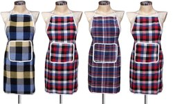 Multicolor Checked Waterproof Cotton Kitchen Apron with Front Pocket (Color May Vary)