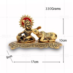Gold Plated Bal Krishna Cow