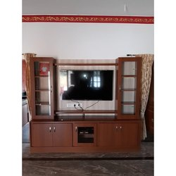 Brown Pvc Wall Mounted TV Unit, For Residential