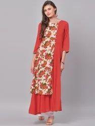 La Firangi Women Red Printed Straight Kurta