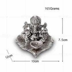 Silver Plated Ganesh Pipal Leaf Deepak
